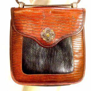 Brighton Mock Crock Flap Saddle Shoulder Bag